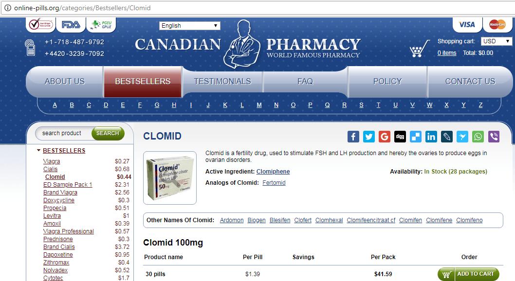 Online Pills Webpage